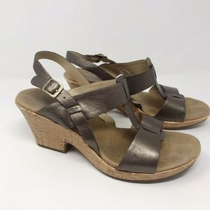Clarks Open Toed Strappy Heeled Sandals Bronze